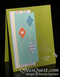 Very cute use of the Bakers' twine with this cute Send Me Soaring  kite stamp set.  I like the way the brad is holding all of them together. :D