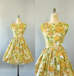 Vintage 50s Dress/ 1950s Party Dress/ Green by WhenDecadesCollide 40/29