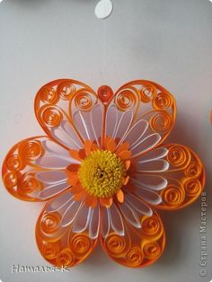 *QUILLING ~ Painting panels pattern Quilling Flowers Paper strip 16 photo by leanne Quilled flower with puffy center two layer flower orange and white flowers Paper Quilling Flowers, Origami And Quilling, Quilled Paper Art, Paper Quilling Designs, Quilling Paper Craft, Quilling Patterns, Paper Crafts, Diy Crafts, Paper Quilling Tutorial