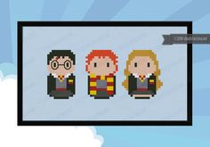 Harry Potter - Harry, Ron, and Hermione parody - Cross stitch PDF pattern