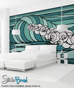Wall Mural Decal Sticker Curl Ocean Wave Green Color MCrespo128
