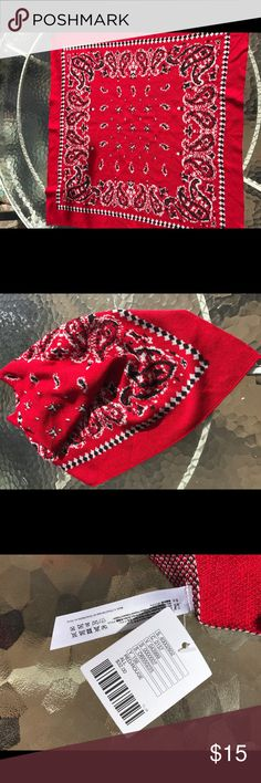 """Knit Bandana Red knit square scarf in classic bandana pattern. Machine washable, 12"""" square. Cute with denim, black shirts and jean jackets. Urban Outfitters Accessories Scarves & Wraps"""