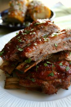 Just made these for dinner tonight and they are good!!!!  The only change I made was substituting chicken broth for the beer :) BBQ Red Pepper Jelly Spareribs | Dash of Savory