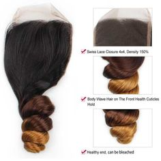 10A Ombre Color 3 Tones Silk Lace Closure Hair Sample 10-18Inch