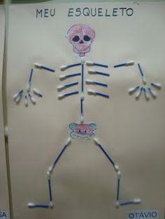 """Portal do Professor - """"Meu corpo e meu esqueleto"""" atividades para Educação infantil. Science Activities, Science Projects, School Projects, Activities For Kids, Diy For Kids, Crafts For Kids, Arts And Crafts, Portal Do Professor, Cool Diy Projects"""