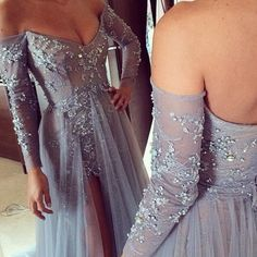2015 New Fashion Long Sleeves Dresses Party Evening A Line Off Shoulder High Slit Vintage Lace Grey on Luulla