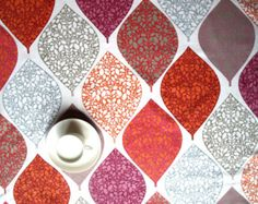 Tablecloth white red purple grey abstract bright leaves Autumn Fall trend , also napkins , runner , pillows , curtains available, great GIFT