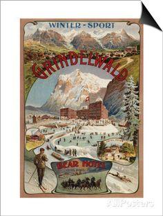 Grindelwald, Switzerland - View of the Bear Hotel Promotional Poster Kunstdruck von Lantern Press - bei AllPosters.ch