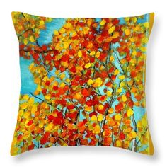 Autumn Trees Throw Pillow for Sale by Vesna Antic Wicker Couch, Pillow Inspiration, Aspen Trees, Pillow Reviews, Pillow Sale, Autumn Trees, Basic Colors, Cushion Covers, Color Show