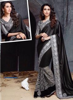 Buy Karishma Kapoor Black and gray Party wear saree at kollybollyethnics Bollywood Designer Sarees, Indian Designer Sarees, Latest Designer Sarees, Bollywood Saree, Designer Sarees Collection, Saree Collection, Chiffon Fabric, Silk Chiffon, Party Wear Sarees Online