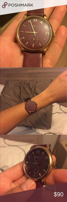 Marc By Marc Jacobs Women's Maroon Gold Watch Yes real Marc by Marc Jacobs.   Maroon & Gold with clean Genuine Calf Leather, in great condition if you ask me  Tiny scuff on the face (you can see the dot in the photographs).   Goes great with casual or business attire Marc By Marc Jacobs Accessories Watches