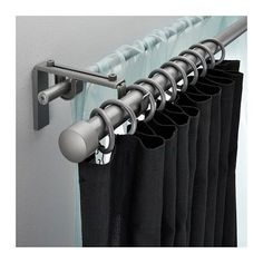 RÄCKA/HUGAD Double curtain rod set – IKEA. This would give you the option of light-weight light filtering, or heavy, black out shades.