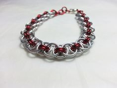 Red and Silver Helm Chainmaille Bracelet by WyndstarCreations, $15.00