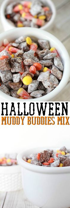This Halloween Muddy Buddies Mix is a fun and festive halloween treat with candy corn, Chex cereal, and peanut butter cups - YUM!
