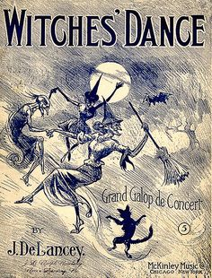 """""""The Witches' Dance"""" Sheet Music for Halloween.Witch Flying on Broomstick and Black Cat Retro Halloween, Halloween Fotos, Halloween Images, Halloween Outfits, Holidays Halloween, Halloween Crafts, Happy Halloween, Halloween Witches, Halloween Goodies"""
