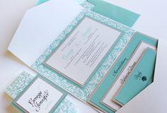 Pocket Fold Invitation - Tiffany Blue Damask