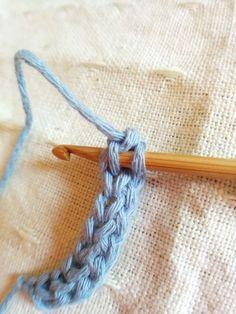 Foundation Single Crochet (ファンデーションシングルクロッシェ)と呼ばれている、細編みでいきなり作り目(土台の目)を編む方法とつなぎ方を写真付きで解説しているページ。