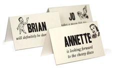 Fun Wedding Reception Place Cards