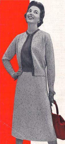 Vintage Knitting PATTERN Knitted Three Piece Sweater Twin Set Skirt Blouse 1950s TweedSet