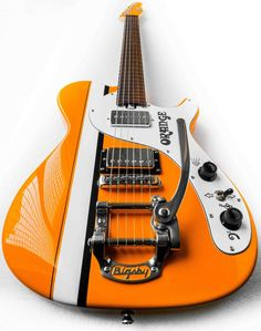 This guitar is probably a one off. It has the Orange logo and some Orange inspired graphics, not to mention a Bigsby and a racing stripe. It looks like it has a Fender style headstock.