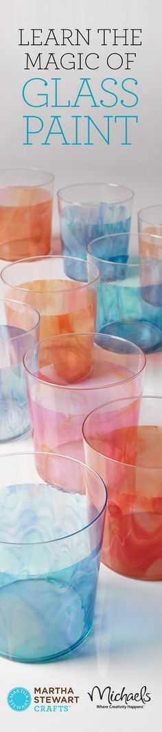 DIY glass painting with Martha Stewart's glass paint - has link to instruction for glasses shown in the picture - via Martha Stewart
