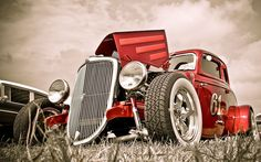 Vehicles cars auto hdr hot rod rat classic retro old stance candy chrome wheels grill lights sky clouds wallpaper Cars Vintage, Vintage Sports Cars, Retro Cars, Antique Cars, Vintage Auto, Hot Rods, Classic Hot Rod, Classic Cars, Classic Trucks