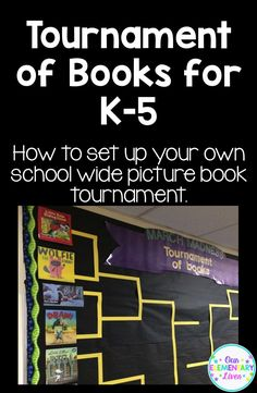 Tournament of Books for K-5.  How to set up your own school wide picture book tournament.  Includes detailed information, samples and example pictures.