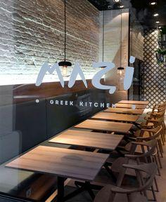 Greek Cuisine Restaurant Decor by Gasparbonta - InteriorZine.  Logo on glass at eye level always a good idea.