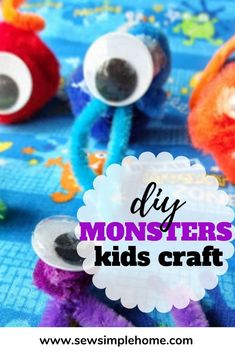 With just a few simple craft supplies your toddler, preschooler or school age children can make their own fun pipe cleaner monsters. Diy Crafts For Kids Easy, Cool Diy Projects, Simple Crafts, Kids Diy, Kid Crafts, Make Your Own Monster, Halloween Make, Activity Toys, Inspiration For Kids