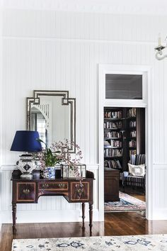 Antique hall table teamed with a glam Art Deco-style mirror. In the study, dark timber reigns for a cossetting effect. Queenslander House, Piano Room, Brown Furniture, Australian Homes, Home Remodeling, New Homes, House Design, Interior Design, Interior Paint