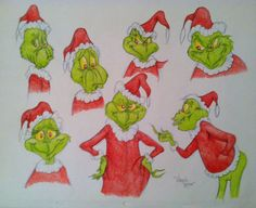 Chuck-Jones-Cartoon-GRINCH-STOLE-CHRISTMAS-Virgil-Ross-MODEL-SHEET-CEL-DRAWING