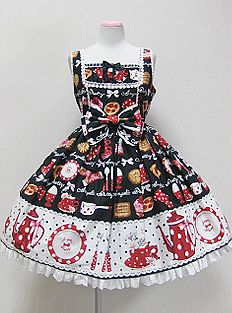 Angelic Pretty French Cafe Switching JSK (in Black, Blue, Red, or Pink)