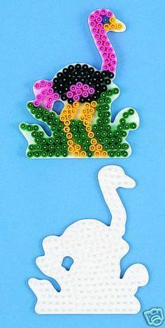 Hama bead ostrich pegboard pattern Pearler Beads, Bead Patterns, Bead Art, Creative Art, Dinosaur Stuffed Animal, Activities, Toys, How To Make, Ebay