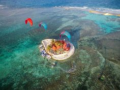 Imagine kitesurfing here all day long at Happy Island! by @thesaltmonkey
