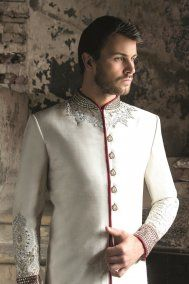 IVORY AND RED KUNDEN SHERWANI