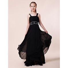 Lanting+Bride®+Floor-length+Chiffon+Junior+Bridesmaid+Dress+Sheath+/+Column+Straps+Empire+with+Beading+/+Draping+–+USD+$+69.99