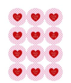 "Free printable ""cutie pie"" Valentines Day tags.  Use for cupcake toppers or treat bags."