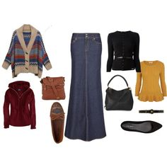 """F/W Casual & More Dressy Denim Skirt Outfit Ideas!"" by hem-of-his-garment-ministries on Polyvore"