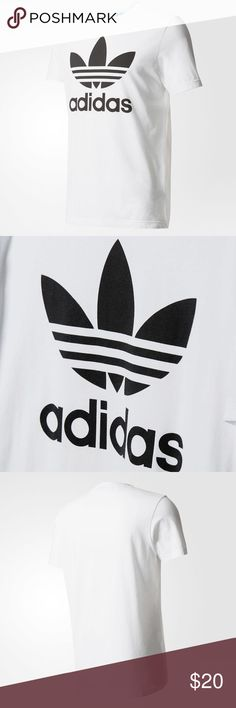 Adidas white trefoil tee - unisex small Classic adidas tee that everyone needs in their wardrobe. Worn once and washed for a shoot with the brand. Size small unisex tee. Adidas Tops Tees - Short Sleeve