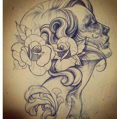 sugar skull drawing must have on my list Bild Tattoos, Neue Tattoos, Skull Tattoos, Body Art Tattoos, Tatoos, Sugar Skull Girl Tattoo, Animal Tattoos, Sleeve Tattoos, Tattoo Sketches
