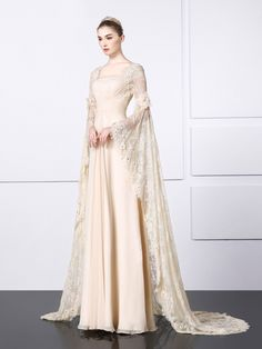 A-Line/Princess Square Neckline Sweep Train Evening Dress With Flower(s) Pleated Sequin Evening Dresses, Long Sleeve Evening Dresses, Dress Long, Evening Gowns, Pretty Outfits, Pretty Dresses, Bridal Gowns, Wedding Dresses, French Wedding Dress