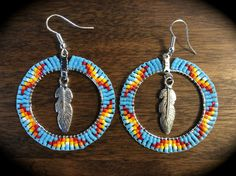 Earrings Hoop Beaded Hoop Earrings w/ Feather, Native American Style Beadwork in Lt Blue Multi -