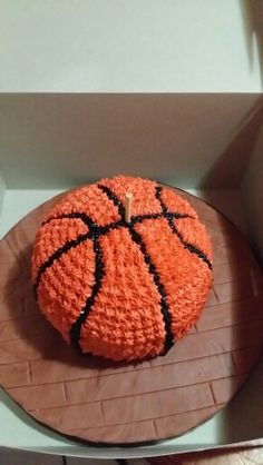 Basketball Smash Cake. Stick is just to keep it steady for the transport.