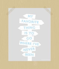 Where I've Never Been Travel Quote Print Digital Print Printable Blue and Gray 8 x 10 Wall Art Vintage Signpost