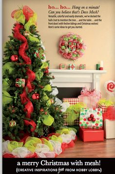 Use deco mesh to add bright holiday flair to trees, wreaths, presents and more!