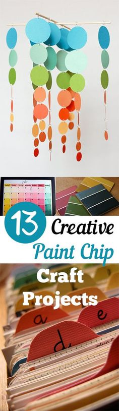 13 Creative Paint Chip Craft Projects. DIY, DIY home projects, home décor, home, dream home, DIY. projects, home improvement, inexpensive home improvement, cheap home DIY.