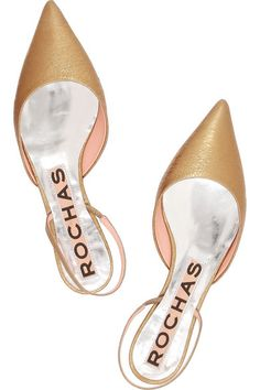 leather point toe flats / rochas