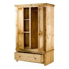 Armoire en Pin Brossé 2 portes et 1 tiroir Brush Armoire En Pin, Tall Cabinet Storage, Furniture, Recherche Google, Home Decor, Home, Alps, Wood Furniture, Wardrobes