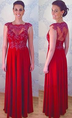 Red Chiffon Prom Dresses Featuring Sheer Neck And See Through Back Long Elegant Evening Gowns Sexy Dresses, Party Dresses, Formal Dresses, Evening Party, Evening Dresses, Red Chiffon, Dress For You, Prom, Elegant