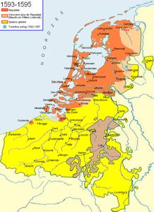 Taking advantage of Parma's division of effort, Maurice and theDutch began to make gains from 1590 to Substantial gains were made in the east and Nijmegen, Hulst and Breda were retaken in the south. Utrecht, World History, Art History, Holland Map, Netherlands Map, Countries Europe, European Map, Old Maps, Fantasy Inspiration